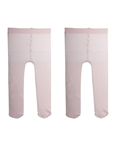 - 2 PAIRS - BABY GIRL PLAIN MICROFIBRE SEMI OPAQUE PANTYHOSE   NEWBORN PANTYHOSE   40 DEN   3 TO 24 MONTHS   ITALIAN HOSIERY   (3 MONTHS, 2 PAIRS PINK)