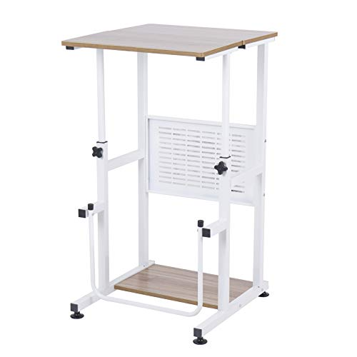 SDADI Adjustable Height Standing Desk Student Desk with Swinging Footrest Optional for Standing and Seating 2 Modes, Dark Grain L1010WFDT