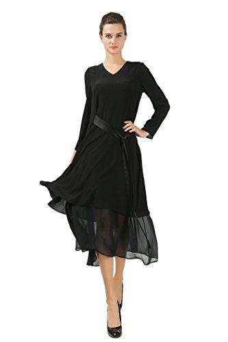 VOA Women's Black Long Sleeve V-Neck Silk Maxi Dress A6560