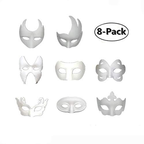 Ru S White Masks, DIY Unpainted Masquerade Masks/Pack of 8 (Color) ()