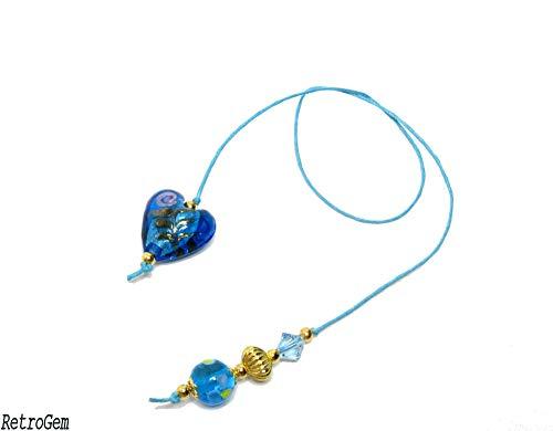 RetroGem Large Lampwork Heart Book Thong Bookmark Made with Blue Swarovski Elements Crystal (Blue - Heart)