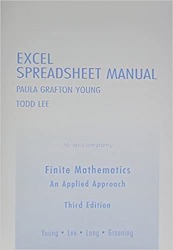 Book Excel Spreadsheet Manual for Finite Mathematics: An Applied Approach by Long, Paul E., Graening, Jay, Young, Paula Grafton, Lee, Todd (May 23, 2004) 3rd