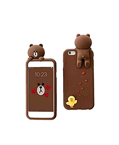 iPhone 7 Phone Case (2016) CaserBay 3D Cute Brown Bear Cartoon Kawaii Ultra Thick Soft Silicone Rubber Case Cover (Bear & Sally For iPhone 7 - Brown Phone