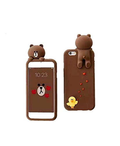iPhone 7 Plus Phone Case (2016) CaserBay 3D Cute Brown Bear Cartoon Kawaii Ultra Thick Soft Silicone Rubber Case Cover (Bear & Sally For iPhone 7 Plus 5.5