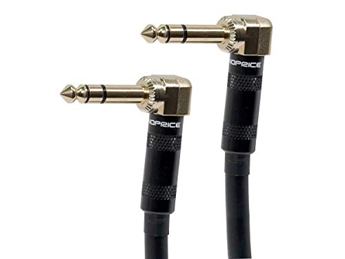 Monoprice Premier Series 1/4 Inch (TRS) Guitar Pedal Patch Cable Cord - 8 Inch - Black with Right Angle Connectors