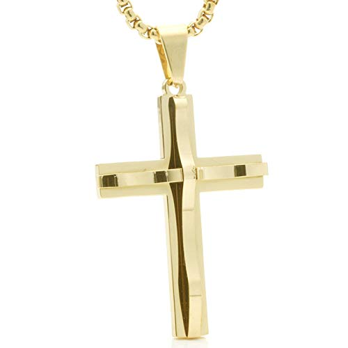 Epinki Stainless Steel Men Necklace Double Layers Cross Shape Pendant Men Necklace Gold