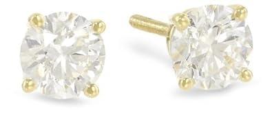 1 Carat Solitaire Diamond Stud Earrings Round Brilliant Shape 4 Prong Push Back L-M Color, I1-I2 Clarity