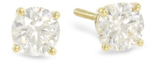 (1 Carat Solitaire Diamond Stud Earrings 14K Yellow Gold Round Brilliant Shape 4 Prong Push Back (L-M Color, I1-I2 Clarity))