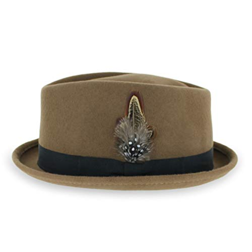 Style Mens Diamond - Belfry Crushable Porkpie Fedora Men's Vintage Style Diamond Hat 100% Pure Wool (XLarge, Pecan)