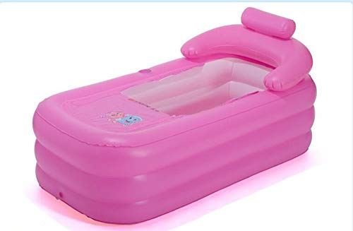 ZYH Inable bathtubpvc adult inable bathtub baby swimming pool collapsible sponge bottom antislip bathtub (Color : Pink)