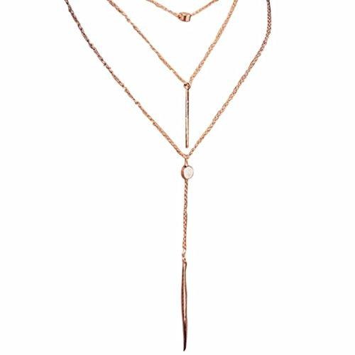 Cuekondy Women Girls Tassel Multilayer Choker Chain Necklace Elegant Alloy Pendant Statement Jewelry (Gold)
