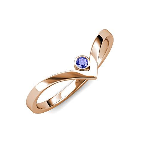(TriJewels Round Tanzanite Womens Solitaire Bezel Set Chevron Promise Ring 0.09 ct 14K Rose Gold.size 7.0)