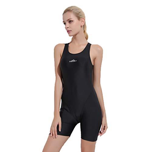 YEZIJIN Women Swimsuit Sexy One Piece Bodysuit Swimwear Professional Sport Bathing Suit Wetsuit top Long/Short Sleeve Black by Yezijin_Swimsuit (Image #4)