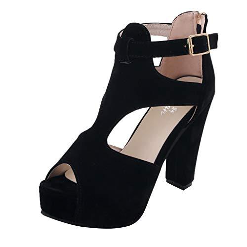 (❤️ Mealeaf ❤️ Ladies Platform Pumps Peep Toe Ankle Strap High Heel Sandals Casual Single Shoes(Black,35))
