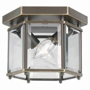 Sea Gull Lighting 7647-782 2-Light Ceiling Fixture, Clear Beveled Glass Panels and Heirloom Bronze (2 Light Beveled Glass)