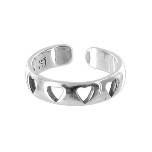 Gem Avenue 925 Sterling Silver Four Open Hearts Toe Ring for (Gem Avenue Toe Ring)