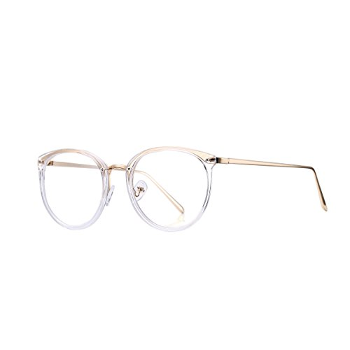 AZORB Womens Vintage Optical Eyeglasses Non-prescription Clear Lenses Eyewear (Gold, 50) (Eyewear Prescription)
