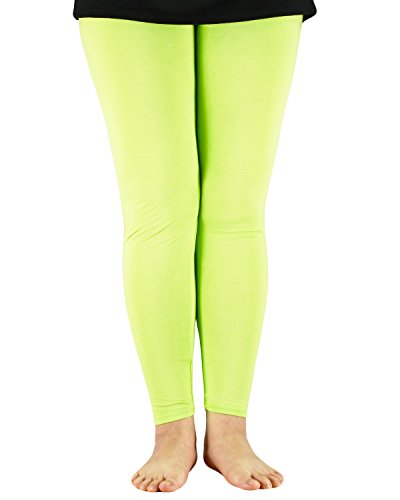 Zando Womens Elastic Smooth Pants Daily Capri Plus Size Comfort Leggings Green US M(Tag 2XL) (Genie Leggings M)