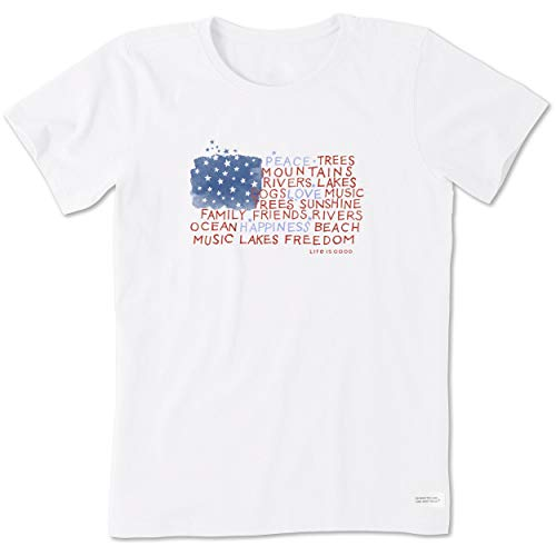 Life is Good Women's Crusher Tee Peace Love Happiness, X-Large, Could White