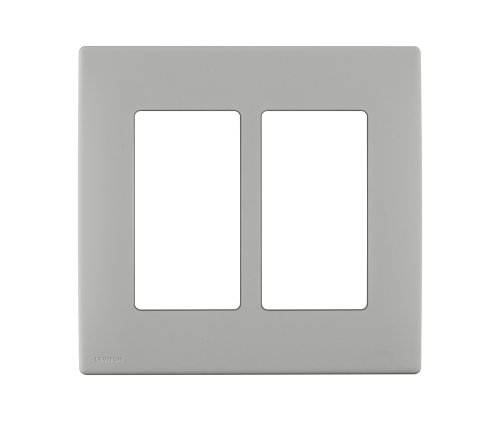Leviton REWP2-PG Renu Two-Gang Screwless Snap-On Wallplate, Pebble Grey