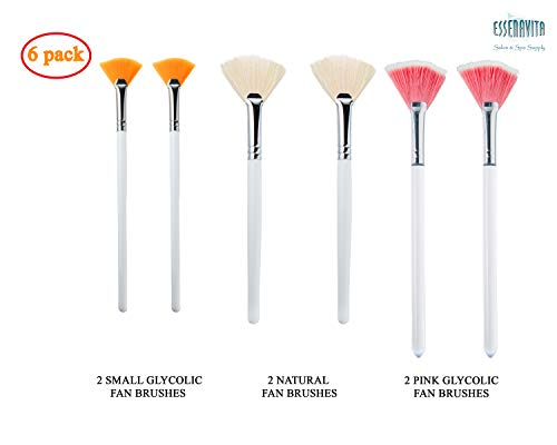 - essenavita fan mask brush set of 6 pieces mask application fan brush glycolic fan brush boar head fan brush