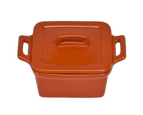 Stoneware Square Covered Baker (Omniware 1172045 Square Mini Bakers with Lids, Set of 4, Orange)