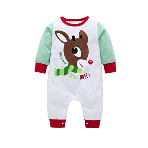 (Unisex Baby Newborn Christmas Autumn Winter Jumpsuit Long Sleeve Cute Fawn Print Onesie Romper Pajama Outfit (White, 9-12 Months))