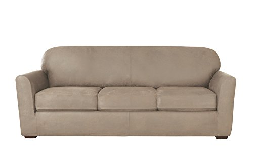 Sure Fit Ultimate Heavyweight Stretch Leather Individual 3 Cushion Sofa  Slipcover   Rustic Birch By Surefit