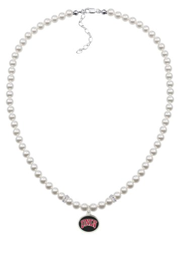 - UNLV Rebels White Glass Pearl Necklace with Enamel Charm