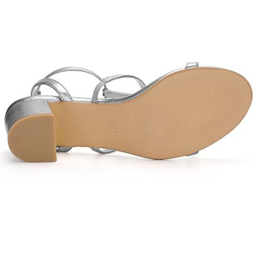 Silver Sandales Bloc Toe Talon Strap Ouvert Découpe Femme Moyen T K Allegra w1x0zPR0