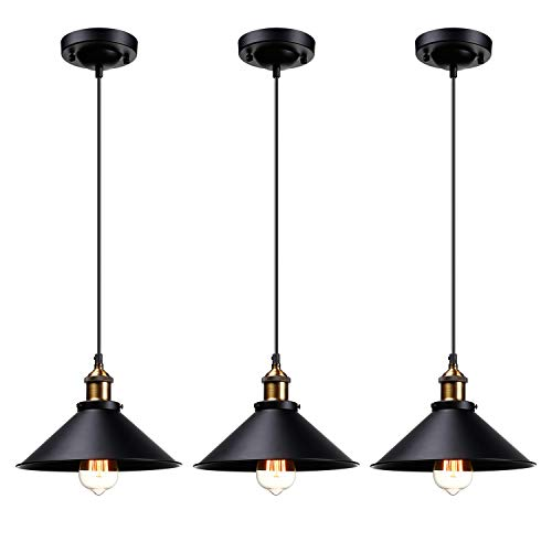 - LEONLITE Industrial Hanging Pendant Light, Rustic Farmhouse Style, Matte Black Metal Shade, Retro Vintage Hanging Light, for Dining Room, Bars, Warehouse, E26 Base, UL Certified, Pack of 3