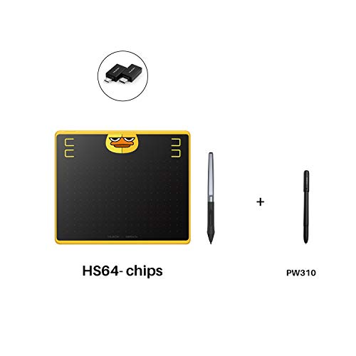 "Huion HS64 Chips Graphics Drawing Tablet 6.3""x 4"" Battery-Free Stylus Android Devices Supported (Special Edition) with PW100 and Huion Scribo PW310"