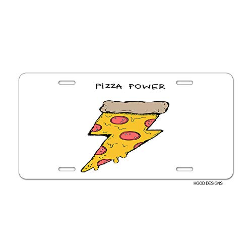 HGOD DESIGNS Pizza License Plate,Funny Piece of Pizza with Salami in The Shape of Lightning License Plate Decorative Front Plate Car Tag 6