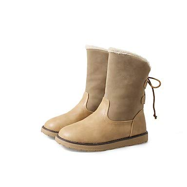 NVXUEZIX Damen Schuhe Schuhe Schuhe Beflockung Kunstleder Winter Herbst Schneestiefel Modische Stiefel Pelzfutter Stiefel Null Flach Runde Zehe Mittelhohe, us8.5   eu39   uk6.5   cn40 26c00f