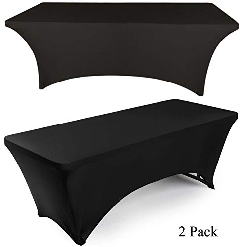 (White Classic 6ft Rectangle Stretch Tablecloth - Tight Fitted Spandex Rectangular Table Cover for 6 Feet Folding Table (Black, 2 Pack))
