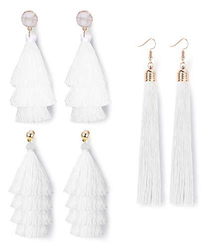 LOLIAS 3 Pairs Long Thread Tassel Earrings Set for Women Girls Boho Fringe Tassel Earrings Set,White (Light Cotton Pendant White)