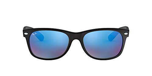 Ray-Ban RB2132 New Wayfarer Mirrored Sunglasses, Black Rubber/Blue Flash, 55 mm (Sunglasses Ray Ban New Wayfarer)