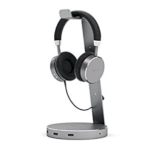Satechi Aluminum USB Headphone Stand Holder with Three USB 3.0 Ports and 3.5mm AUX Port - Suitable for All Headphone Sizes (Space Gray)