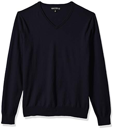 - J.Crew Mercantile Men's Long-Sleeve Cotton V-Neck Sweater, Navy L