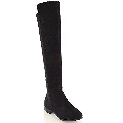 ESSEX GLAM Damen Langschaft Over-Knee Dehnbar Stiefel Schwarz Wildlederimitat