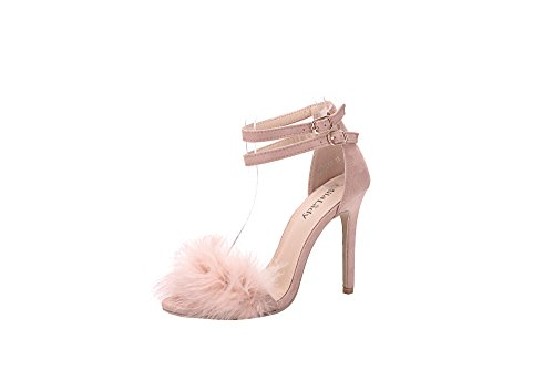 Mila Lady EILEEN18 Sexy Feather Ankle Strap Open Toe Stiletto Lady Heeled Sandal, PINK6 - Sexy 5 Inch Heels
