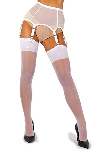 (sofsy Sheer Thigh High Stockings for Garter Belt/Suspender Belt | 15 Den [Made In Italy] White XL)