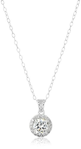 Sterling Silver Cubic Zirconia Round Halo Pendant Necklace, (Sterling Silver Cubic Zirconia Necklace)
