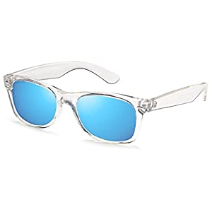 GAMMA RAY UV400 52mm Adult Classic Style Sunglasses – Mirror Blue Lens on Clear Frame