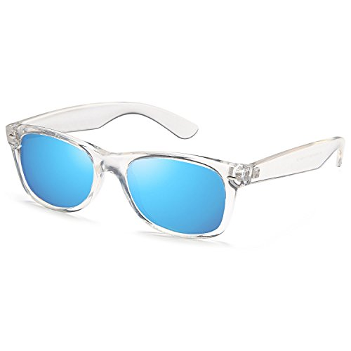 GAMMA RAY UV400 52mm Adult Classic Style Sunglasses – Mirror Blue Lens on Clear - Lense Blue Sunglasses