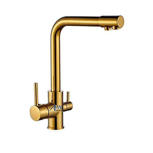 gold Polish CZOOR 100% Brass Black Mixer Swivel Drinking Water Faucet 3 Way Water Filter Purifier Kitchen Faucets for Sinks Taps 9051SE, gold Polish