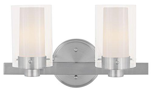 Progress Lighting Inspiration 2 Light Brushed Nickel: Livex Lighting 1542-91 Manhattan 2-Light Bath Light