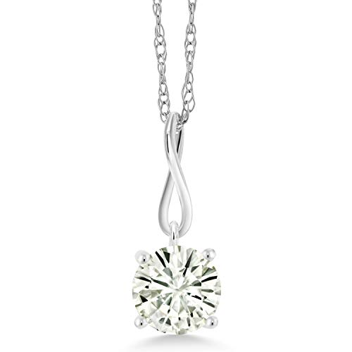 10K White Gold Pendant Forever Classic Round 1.00ct (DEW) Created Moissanite by Charles & Colvard