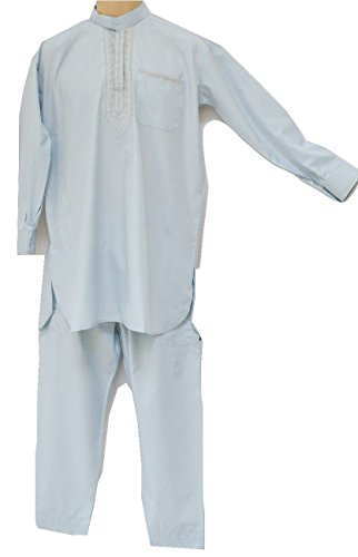 Mens Afghan Pakistani Indian Shalwar Kameez Suit Dress Trousers Shirt (Blue) (Kameez Trouser)
