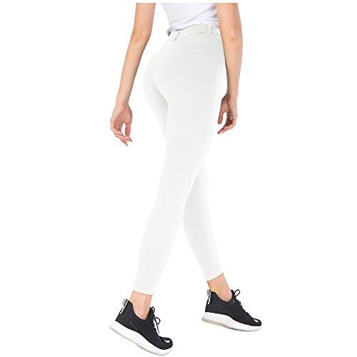 Bamans Yoga Dress Pants, High Waisted Black Workout Leggings for Women, Office Skinny Lined Leggings, Snowy White S - Skinny Leg Tight